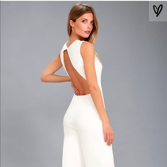 ef47a3b36c9 Lulu s white backless wide leg jumpsuit